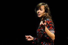 An actress of the Barcelona Theater Institute, plays in the comedy Shakespeare For Executives Stock Photos