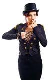 The actress of a cabaret imitates Charli Chaplin Royalty Free Stock Photo
