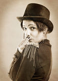 The actress of a cabaret imitates Charlie Chaplin Stock Photo