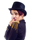 The actress of a cabaret imitates Charlie Chaplin Royalty Free Stock Images