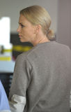 Actress Charlize Theron is seen at LAX Royalty Free Stock Photo