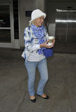 Actress Dame Helen Mirren at LAX. Royalty Free Stock Photos