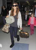 Actress Denise Richards and daughters seen at LAX Royalty Free Stock Photos