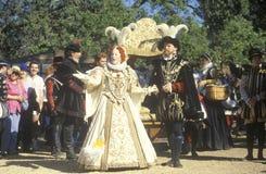 Actress Dressed as Virgin Queen Elizabeth at The Renaissance Faire, Agoura, California Stock Photo