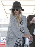 Actress Drew Barrymore is seen at LAX Stock Image
