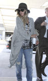 Actress Drew Barrymore is seen at LAX Stock Photo