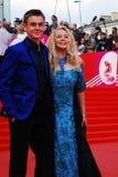 Actress Elena Kondulainen and her son at XXXVI Moscow International Film Festival Stock Photo