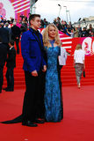 Actress Elena Kondulainen and her son at XXXVI Moscow International Film Festival Royalty Free Stock Images