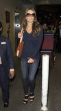 Actress Elizabeth Hurley at LAX airport. Stock Photo