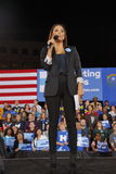 Actress Eva Longoria speaks to attendees during a Hillary Clinton campaign rally at the Clark County Government Center Amphitheate Royalty Free Stock Image