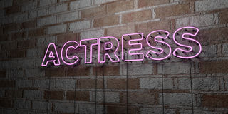 ACTRESS - Glowing Neon Sign on stonework wall - 3D rendered royalty free stock illustration. Can be used for online banner ads and direct mailers Royalty Free Stock Photography