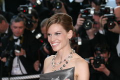 Actress Hillary Swank. CANNES, FRANCE - MAY 18: Actress Hillary Swank attends the 'Looking for Eric' premiere at the Grand Theatre Lumiere during the 62nd Annual stock image
