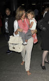 Actress Jessica Alba with daughter Honor at LAX Royalty Free Stock Images