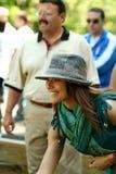 Actress Marisa Petroro playing bocce ball Stock Image