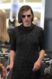 Actress Milla Jovovich is seen at LAX airport Stock Photography