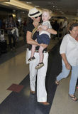 Actress Minnie Driver with son at LAX airport Stock Photos