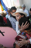 Actress Ofelia Medina during protest hugs a woaman Stock Photos