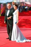 Actress Olga Cabo with her husband at Moscow Film Festival Stock Images