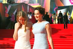 Actress Olga Cabo wtih her daughter at Moscow Film Festival Stock Photography