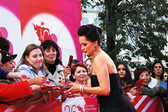 Actress Olga Kabo gives autographs Stock Photo