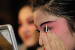 Actress Painting masks. China opera actress  is Painting masks Stock Photography