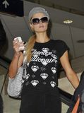 Actress Paris Hilton is seen at LAX Stock Photography