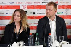 Actress Pihla Viitala and actor Antii Luusuaniemi, Finland, at Moscow International Film Festival stock photography