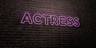 ACTRESS -Realistic Neon Sign on Brick Wall background - 3D rendered royalty free stock image. Can be used for online banner ads and direct mailers Royalty Free Stock Photography