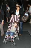 Actress Salma Hayek with daughter at LAX Stock Images