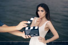 Actress Thinking About Next Line During Movie Shoot Royalty Free Stock Photo