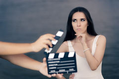 Actress Thinking About Next Line During Movie Shoot Stock Image