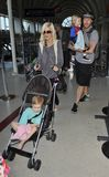 Actress Tori Spelling with family at LAX Royalty Free Stock Photos