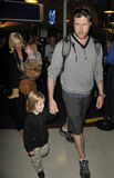 Actress Tori Spelling with husband&daughter at LAX Stock Photography