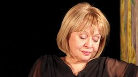 Actress. Tragic actress on theatrical stage stock video
