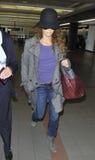 Actress Vanessa Paradis wife of Johnny Depp at LAX royalty free stock photography