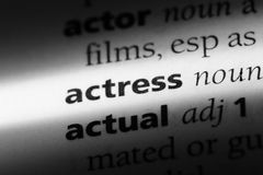 Actress. Word in a dictionary.  concept Royalty Free Stock Photography