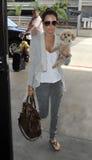 Actrice Ashley Tisdale avec le chiot chez LAX photos libres de droits
