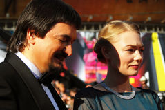 Actrice Oksana Akinshina bij de Filmfestival van Moskou Stock Fotografie