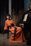 Actrice op de scène Stock Fotografie