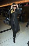 Actrice Paris Hilton à l'aéroport de LAX images libres de droits