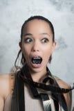 Actriz divertida de la mujer joven de las películas Fotos de archivo
