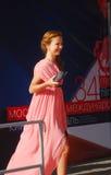 Actriz Elena Zakharova no festival de película de Moscovo Imagens de Stock