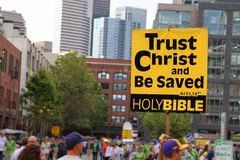 Acts 16:31. Bible verse on a nameplate in seattle stock photo