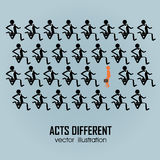 Acts different. One person acting different in a group of people on blue background Royalty Free Stock Photo