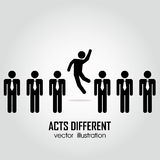 Acts different. One person acting different in a group on people on white background Stock Images