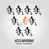 Acts different. Different person running in the same direction and one running in different direction Royalty Free Stock Images