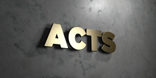 Acts - Gold sign mounted on glossy marble wall  - 3D rendered royalty free stock illustration Stock Photography