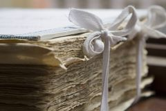 Acts in library. Detail of bundle stock image