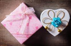 Actual caja para la tarjeta del día de San Valentín Fotografía de archivo libre de regalías