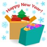 Actual ejemplo del vector de las cajas de regalo Imagen de archivo